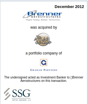SSG advises Brenner Aerostructures in its sale to The Atlas